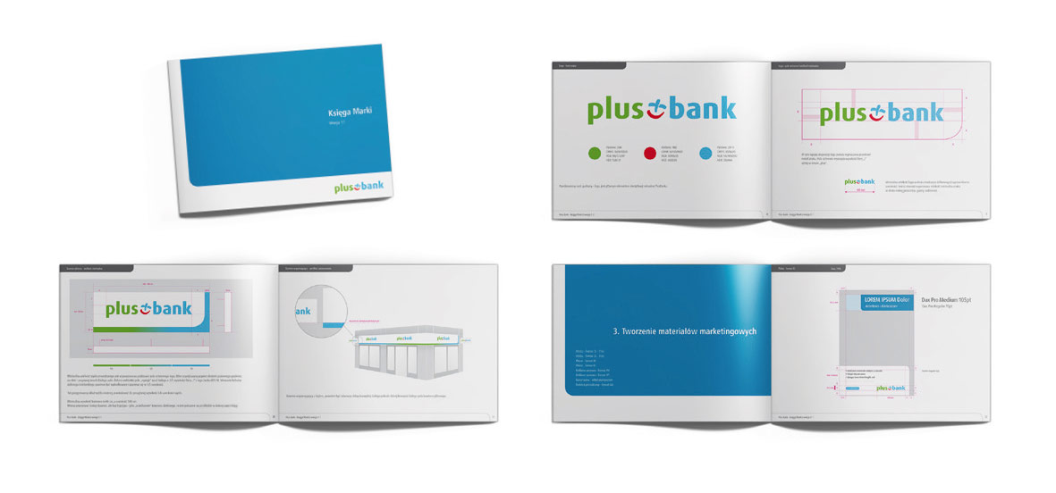 PLUS BANK, księga marki, corporate identity, druk, kreacja, Brand Design Studio graficzne, Warszawa, DTP
