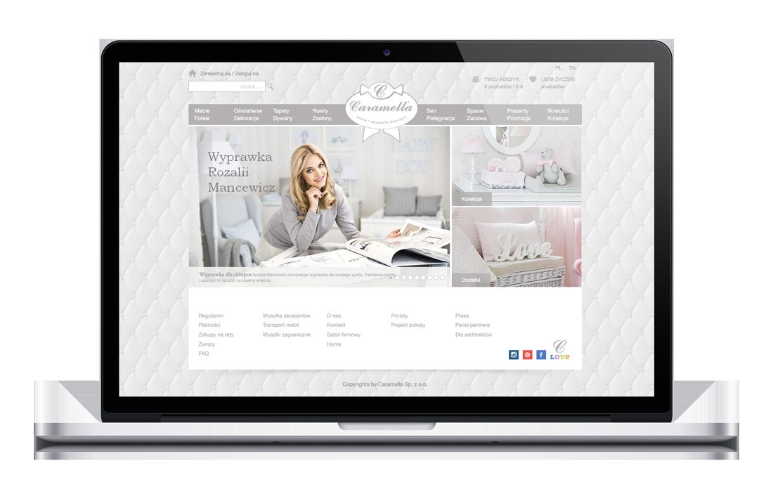 Caramella - projekt strony internetowej, Brand Design Studio, kreacja