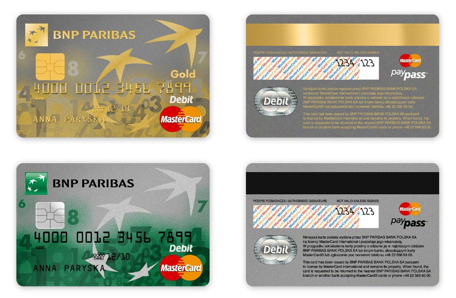 Karty debetowe MasterCard dla BNP Paribas Bank, Projekt karty płatniczych, Brand Design Studio, Brand , kreacja