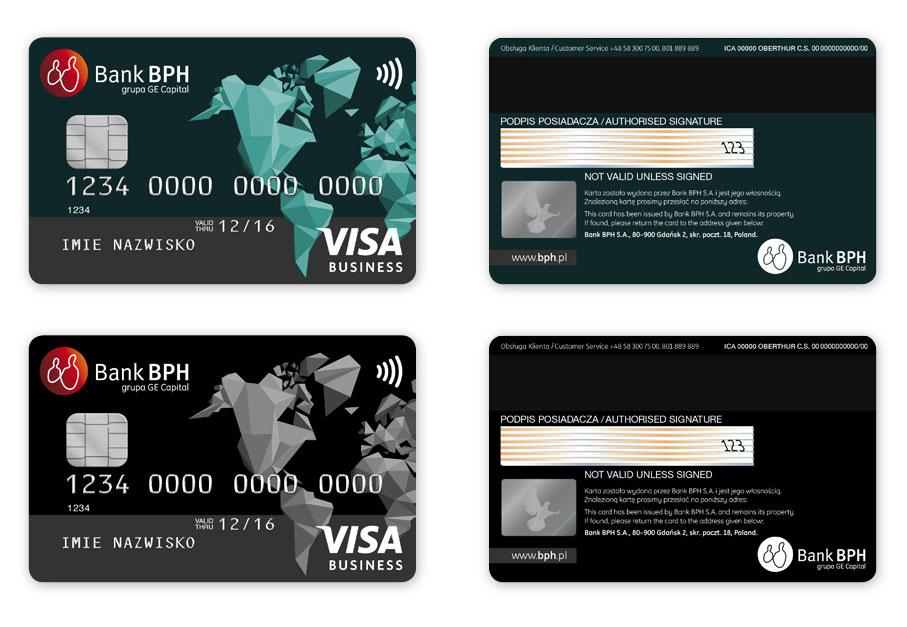 Projekty kart płatniczych Bank BPH Visa Business, projekt karty płatniczych, Brand Design Studio, kreacja