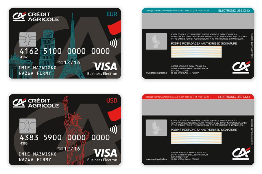 Projekty kart płatniczych Credit Argicole Visa Business Electron, projekt karty płatniczych, Brand Design Studio, kreacja