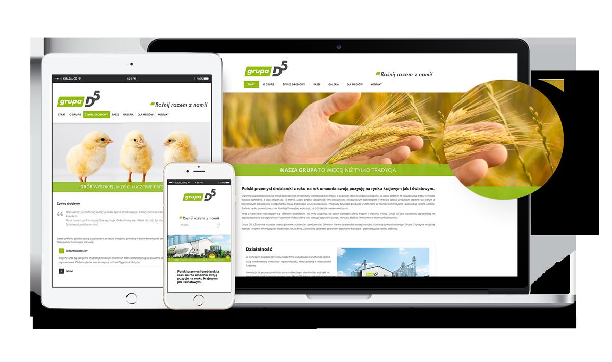 Grupa D5 - Brand Design Studio, projekt strony internetowej www, responsywna, logo, corporate identity, księga znaku, kreacja