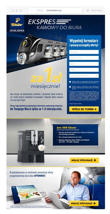 Projekt Landing Page, Tchibo Coffee Service, zaproszenie, kreacja, Brand Design Studio, strona www