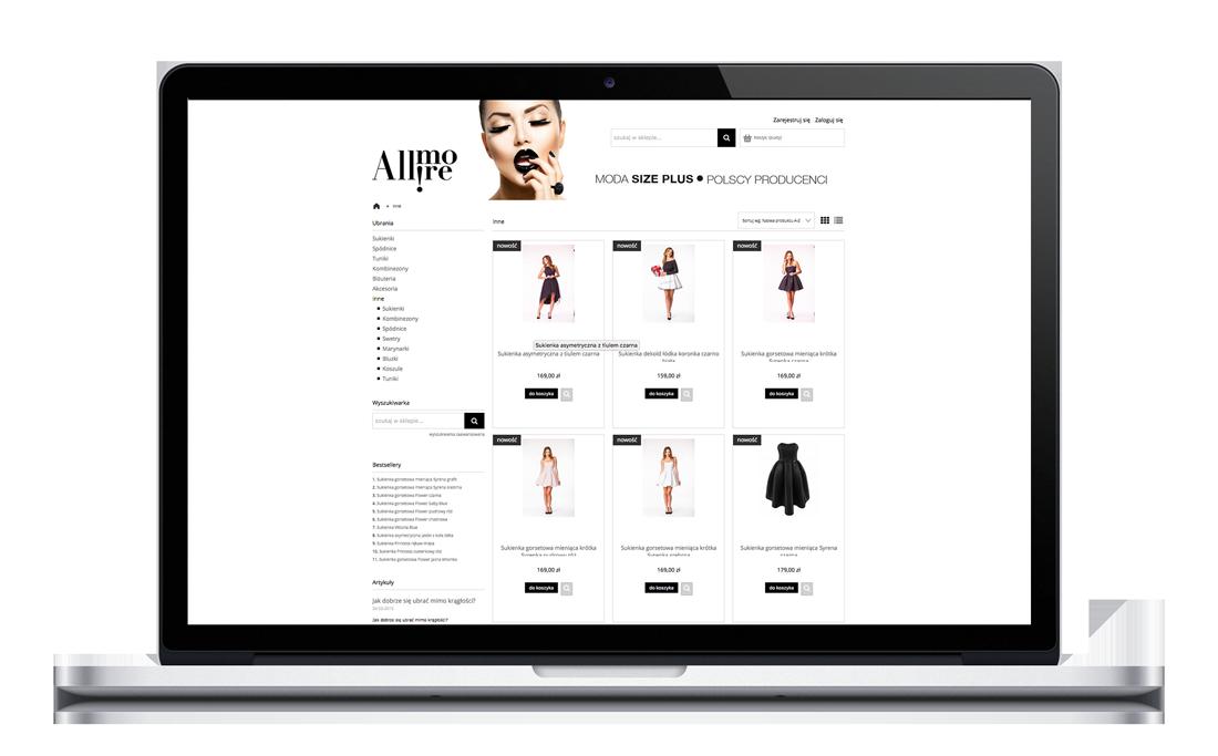 Allmore, branding, wizytówki, logotyp, opracowanie graficzne sklepu internetowego, projekt opakowań do wysyłki, torby, naklejki, metki, formularze itp.