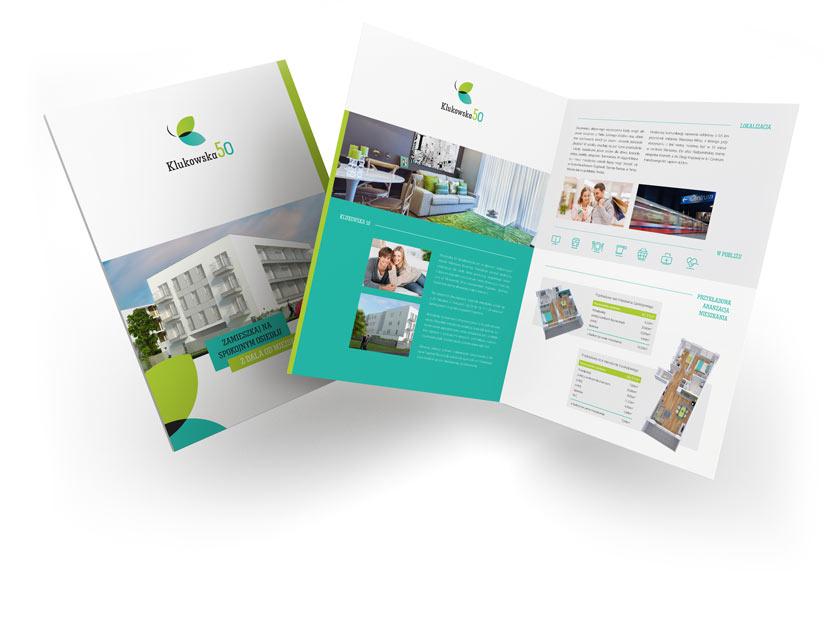 wizerunek inwestycji dla dewelopera nieruchomości, projekt broszury, brand design studio, Warszawa, kreacja